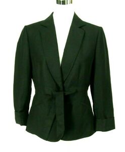 Tahari Petites Blazer Sz 8P Black Linen Rayon Jacket Tie & Snap Closure NWOT