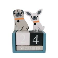 Gisela Graham perro madera sobremesa calendario mesa bloque de perpetuo