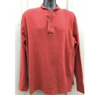 Vintage Polo Ralph Lauren Wool Cotton Red Henley Sweater Men's L Made In USA