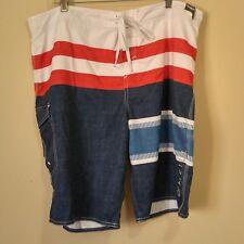 O'Neill Men's Swim Trunks Board Shorts Red White Blue Stripes Size 40