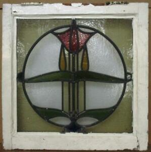 """EDWARDIAN ENGLISH LEADED STAINED GLASS WINDOW Lovely Colorful Floral 21"""" x 21"""""""