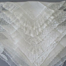 Lot 5 Vintage White Linen Swiss + French Lace Handkerchiefs * Wedding Bridal