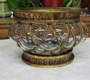Vintage Hand Blown Glass Bowl Vase in Metal Cage Frame Beautiful Unique