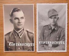 2 alte Portrait Fotos Gebigsjäger mit Edelweiss - Abzeichen / Orden 2. WK