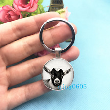 Goat Art Photo Tibet Silver Keychains Rings Glass Cabochon Key chain -215