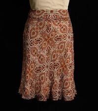 Ann Taylor 100% Silk Red Tan Paisley Knee Length Trumpet Flare Skirt Sz 10