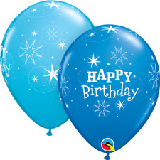 25 Blue Birthday Sparkle Latex Balloons Party Helium / Air Qualatex 38858