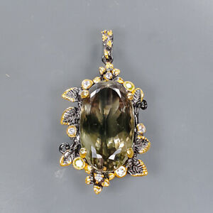40 ct+ IF gemstone Green Amethyst Pendant Silver 925 Sterling  /NP15075