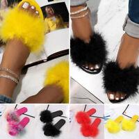 Women's Casual Flat Solid Sandals Plush Flip-flop Slipper Shoes Round Toe Slides