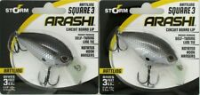 2 Storm Arashi Rattling Square 3 Circuit Lip Crankbaits Blk Slvr Shad ASQR03874