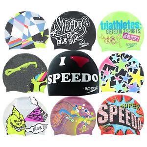 Speedo Swim Cap Adult Unisex Silicone Competition Multi Printed Designs