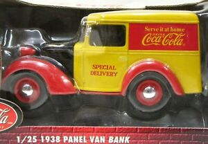 COCA COLA 1938 PANEL VAN BANK 1/25 diecast mint in box