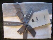 1 West Elm Linen cotton  velvet blocked standard sham white alloy New