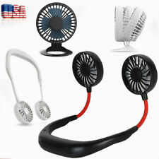 USB Mini Table Fan & USB Rechargeable Lazy Neckband Neck Hanging Cooling Fan US