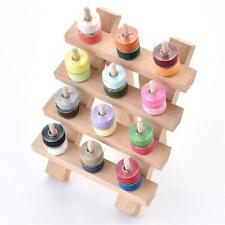 12 Spool Wood Sewing Thread Stand Organizer Craft Embroidery Storage Rack Holder