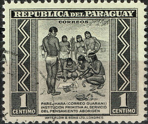 Paraguay Ethnicities Native American Indians Trybal Nude scene stamp 1947