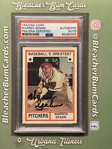 Warren Spahn Braves Authentic Signed Auto Baseball's Greatest Card PSA/DNA Slab