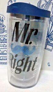 Tervis Tumbler Company Mr Right 16oz Tumbler Mustache Travel Cup Top Blue Mug