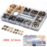 100X 12.5mm snap tool kit canvas leather button universal Heavy Duty Snap