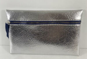 Ipsy Glam Bag December 2019 Silver Blue Case Makeup Bag Zipper