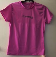 O'Neill L Large Juniors Fox Pink Rash Guard Swim Shirt UV Short Sleeve NWT