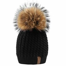 4fe07ff392617c Fox Furtalk Crochet Knit Fur Hat with Real Fox Pom Bobble Winter Beanie,  One Size