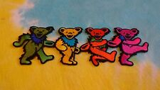 Grateful Dead Row of 4 Rainbow Dancing Bears 6 Inch Iron On Patch