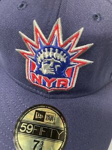 New York Rangers Lady Liberty 🗽 Logo Low Profile Fitted Hat NWT 7 3/4 🔥 🔥 🔥