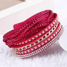 Pink + Gold Braided Vegan Leather Wrap Bracelet