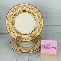 World Market LISBON Stoneware Yellow Scroll Floral Portugal Dinner Plates Set 3
