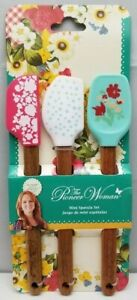 The Pioneer Woman Mini Spatula Set Silicone Spatulas Wood Handles 3 Pack New