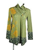 Azalea by Firmiana Tunic Green Gold Black Floral Long sleeve Womens size S Top