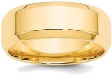 14K Yellow Gold 8mm Bevel Edge Comfort Fit Band Ring