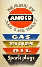 Original Vintage Auto Poster Make It Amoco All the Way! by Lucian Bernhard Oil