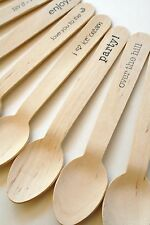 Disposable 6.5 Inch Wooden Utensils - 20 Pieces - Your Phrase Choice