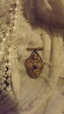 Vintage Gold Filigree & Porcelain Miniature Perfume Pin ~ Dabber Is Perfect