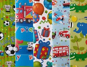 10 SHEETS OF THICK GLOSSY ASSORTED BOYS / CHILDREN'S BIRTHDAY WRAPPING PAPER