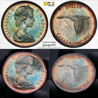 MS64 1967 $1 Canada Silver Dollar, PCGS Secure- Beautifully Blue Toned
