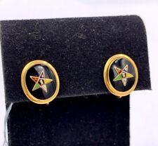 Vintage 10k Gold Eastern Star Enamel screw back Earrings BDA