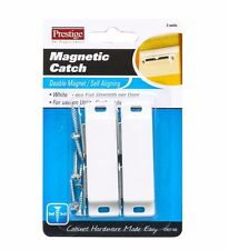 Prestige Double Magnetic Catch for Cupboard 4kg Pull Strength Plastic White, 2pc