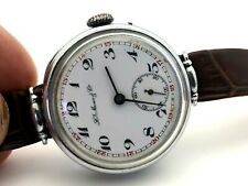 Rare H Moser & Cie WWI MILITARY TRIPLE SIGNED ENAMEL ORIGINAL DIAL CASE MOVEMENT