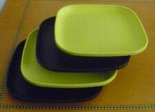 Tupperware Free Ship New 4 Dishes Square Classic Plates Raised Edges Green Black