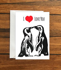 I love you penguins greeting card A6