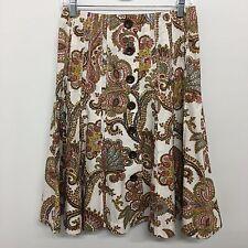 CAbi 2 Skirt Button Front Paisley Style 861 Cotton Boho