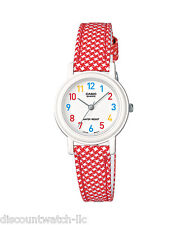Casio Ladies LQ139LB-4B White/Red Genuine Leather Casual Dress Watch NEW Nice