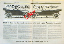 "1915 magazine ad REO Motor Car Company REO Fifth and Sixth Great ad! 12"" x 17.5"""
