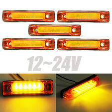 5x 6 LED Truck Pickup Trailer Clearance Side Marker Indicators Light Lamp Amber