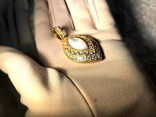 JUDITH RIPKA 14K YELLOW GOLD CLAD DIAMONIQUE & MOTHER OF PEARL ENCHANCER (M974)