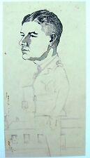 Ritratto Militare Seconda guerra mondiale in piedi grandi Inchiostro / MATITA Robert Lyon c1941
