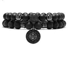 Set of 2 Black Lion Head Beaded Bracelet For Men Luxury Jewellery UK Seller